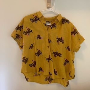 Madewell Yellow Floral Button Down